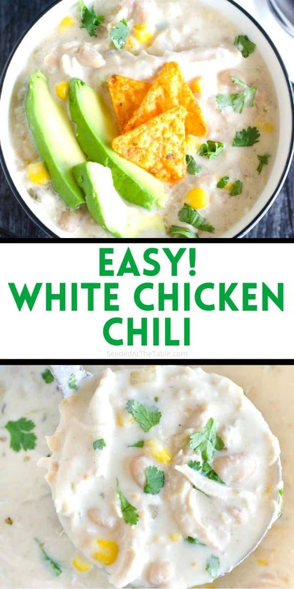 This white chicken chili is easy and creamy, made in just one pot on the stove top. A family favorite dinner recipe!