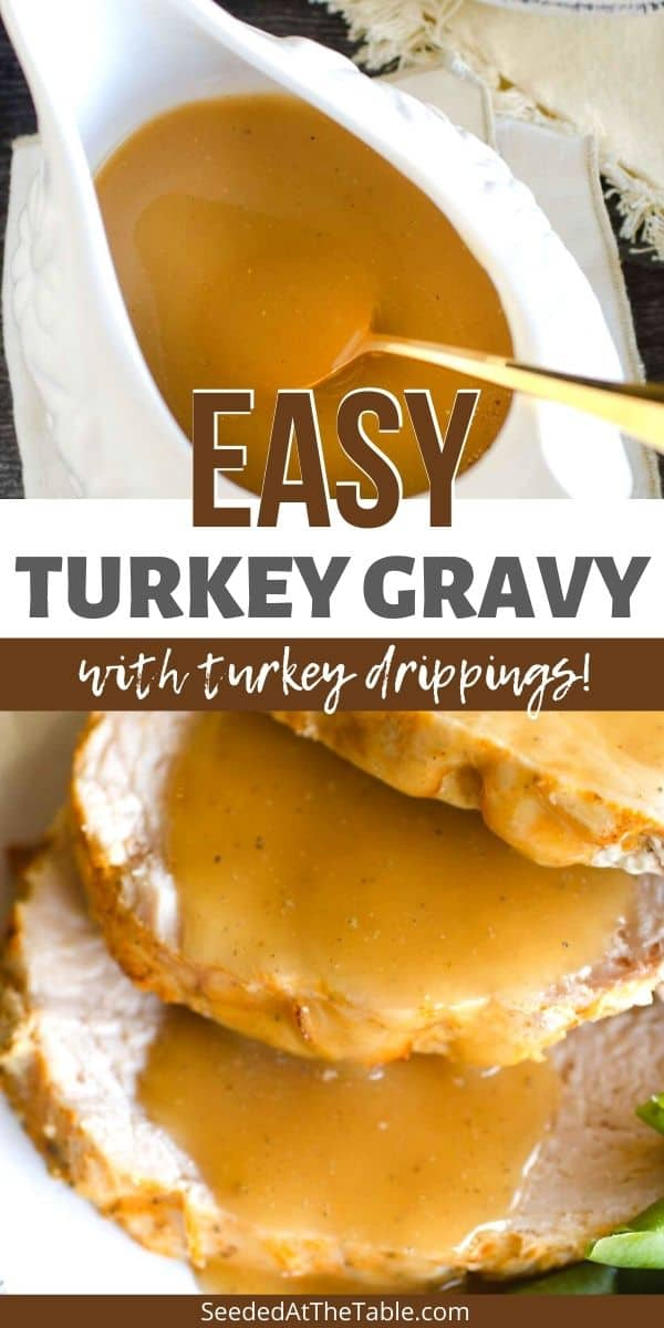 This easy turkey gravy recipe is full of flavor from turkey drippings. Don't have drippings? Use broth instead for convenience! This is the BEST Thanksgiving gravy for your holiday meal!