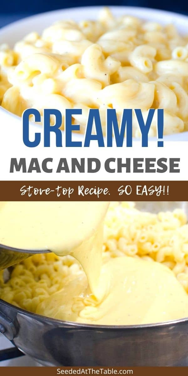 This creamy mac and cheese is an EASY family favorite recipe. Ready in just 20 minutes cooked on the stove top. A perfect holiday side dish!