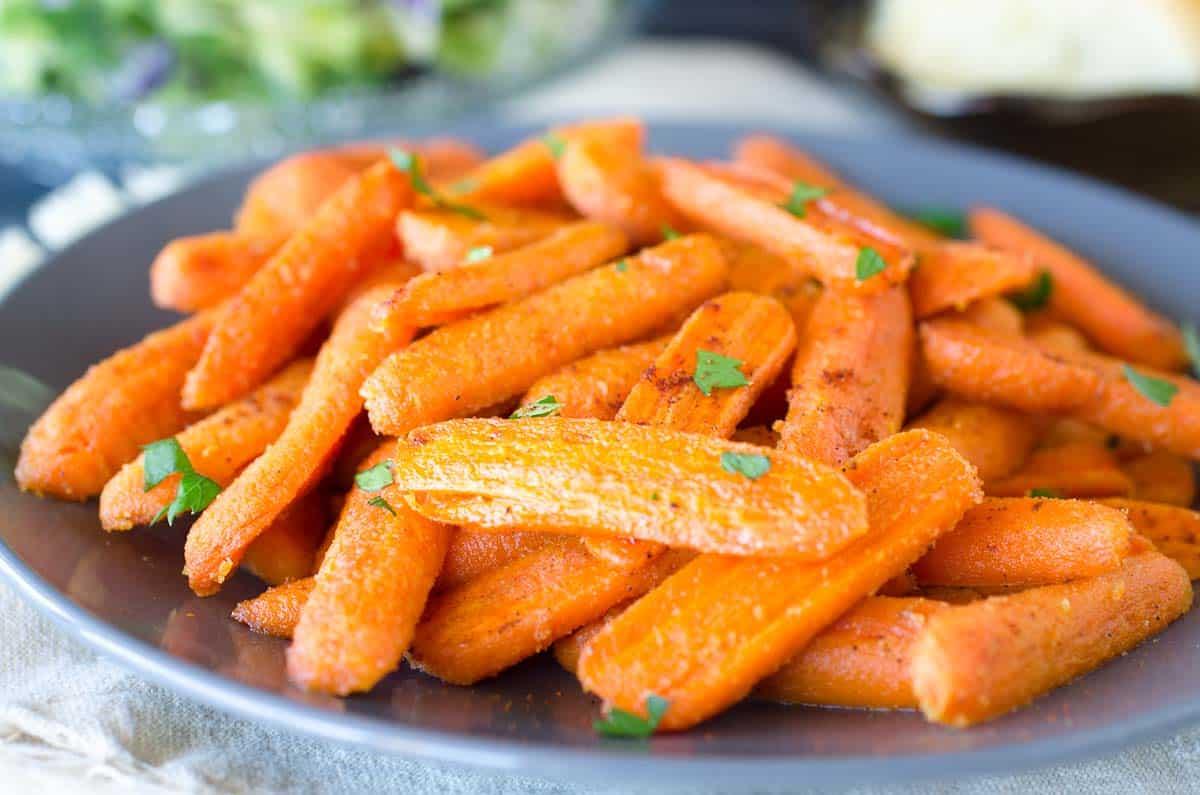glazed carrots on a plate