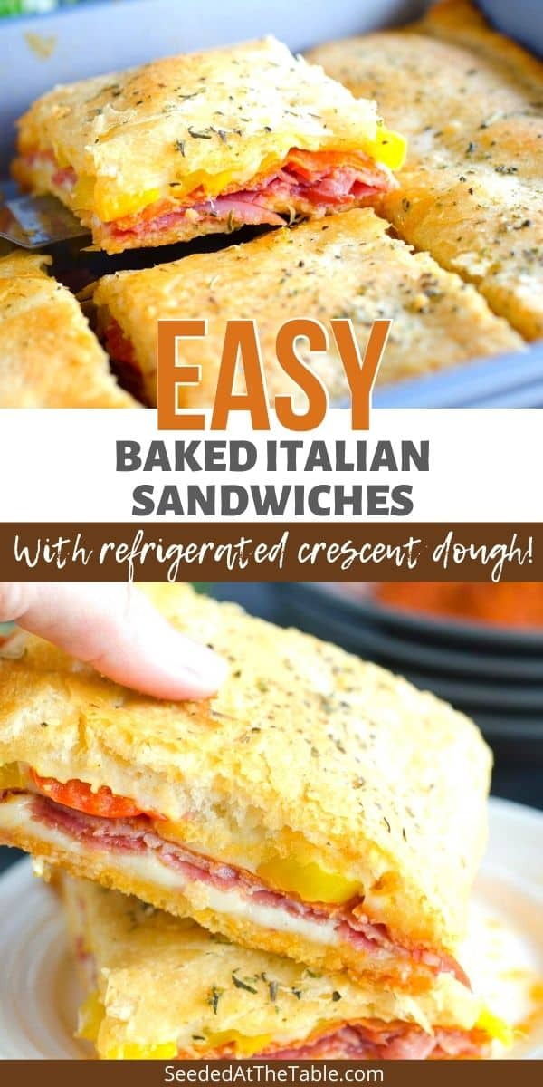 This Italian sandwich is full of salami, pepperoni, ham and melty cheese baked between two layers of flaky crescent dough. Serve for lunch and dinner or slice smaller for an easy delicious appetizer!