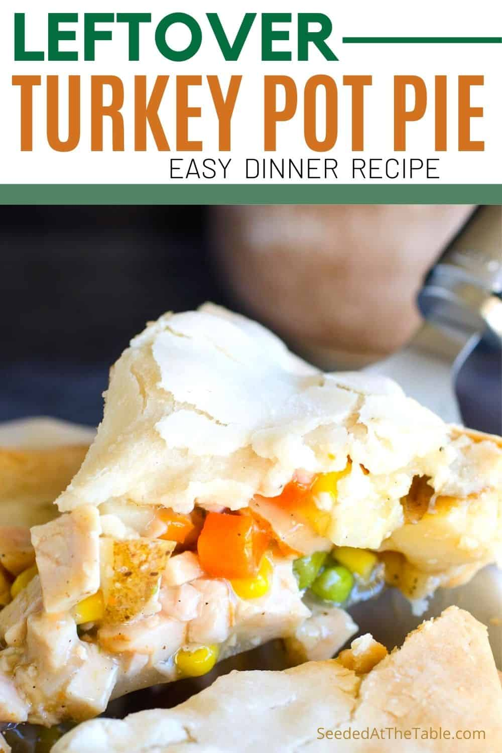 This turkey pot pie is a comforting no-fuss dinner recipe using leftover Thanksgiving turkey and other simple ingredients.