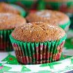 gingerbread muffin in green wrapper