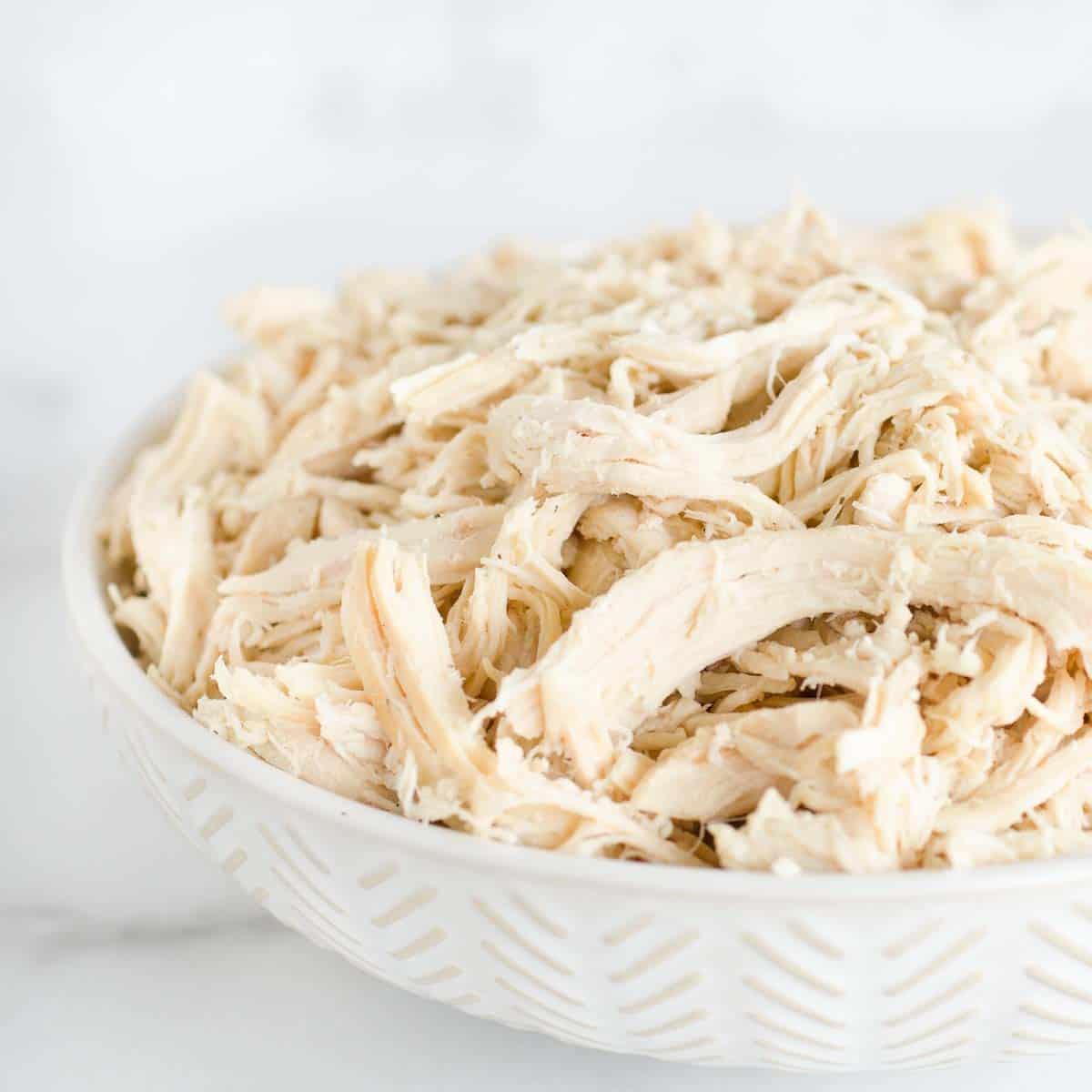 leftover shredded chicken in a bowl