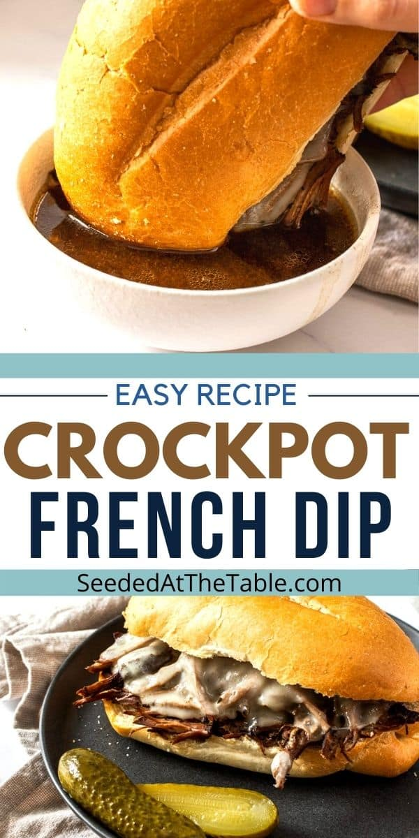 This slow cooker french dip recipe makes a flavorful and tender beef dip sandwich! Serve with the au jus poured straight from the crock pot for an easy weeknight dinner!