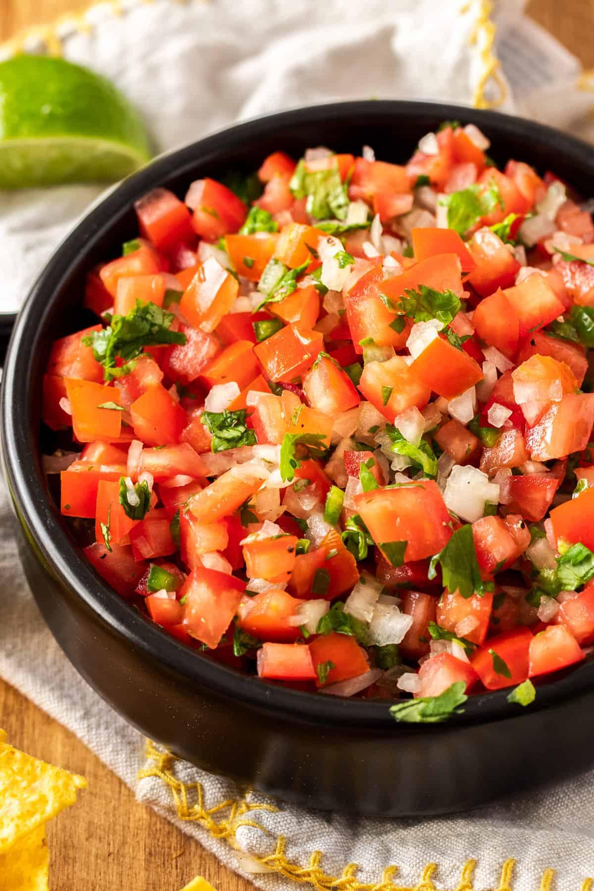 close up of a bowl of fresh salsa