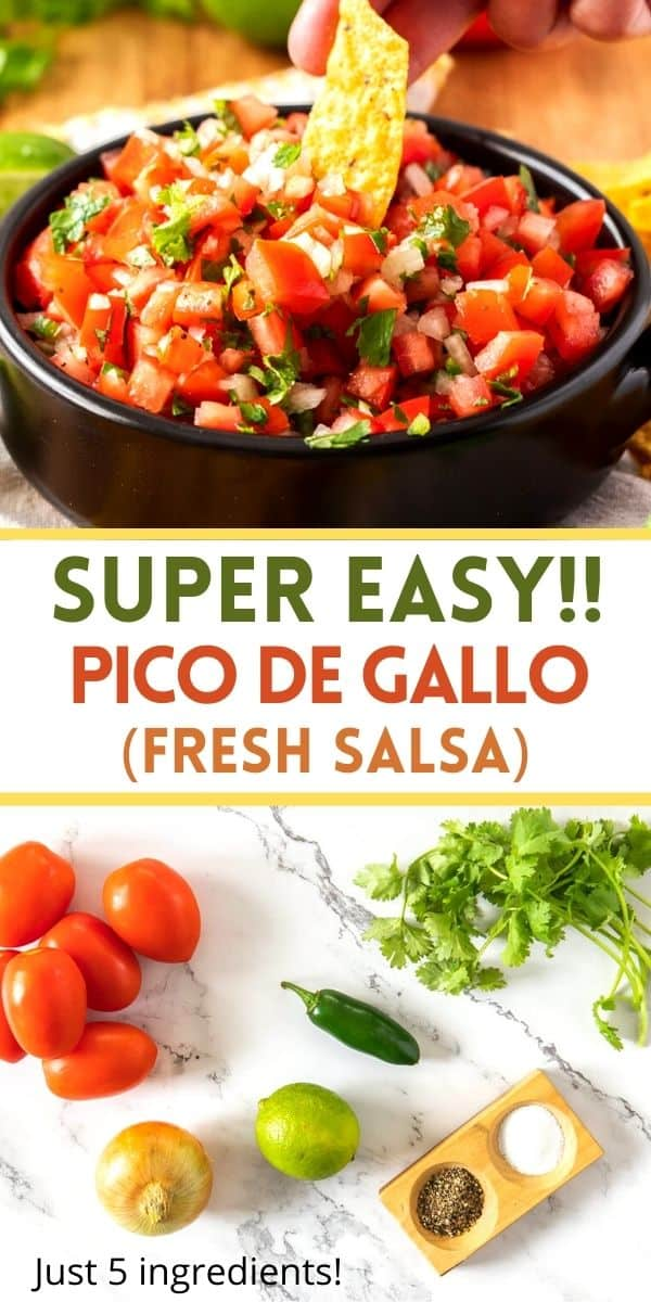 Pico de gallo is a Mexican salsa made with fresh tomatoes, onions and cilantro. It's the perfect dip with chips or to top tacos, burritos, enchiladas, and salads. Freshly made in minutes!