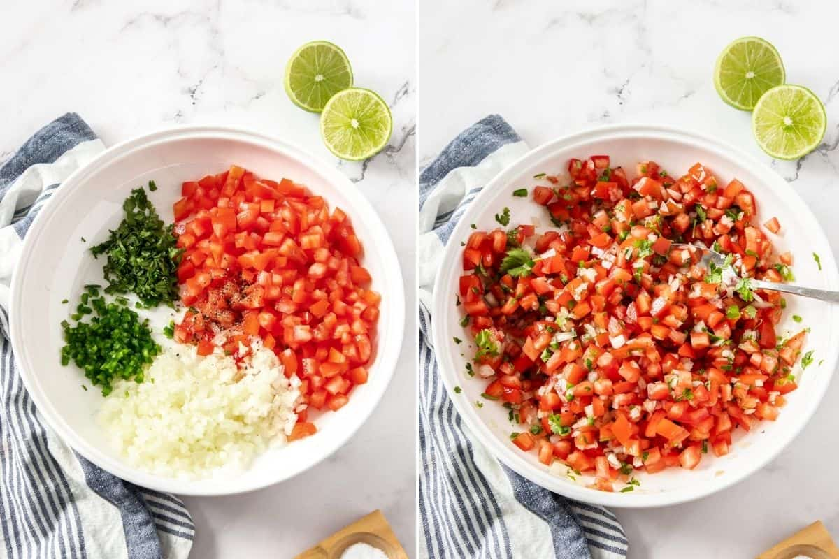 side by side ingredients of pico de gallo mixed in bowl