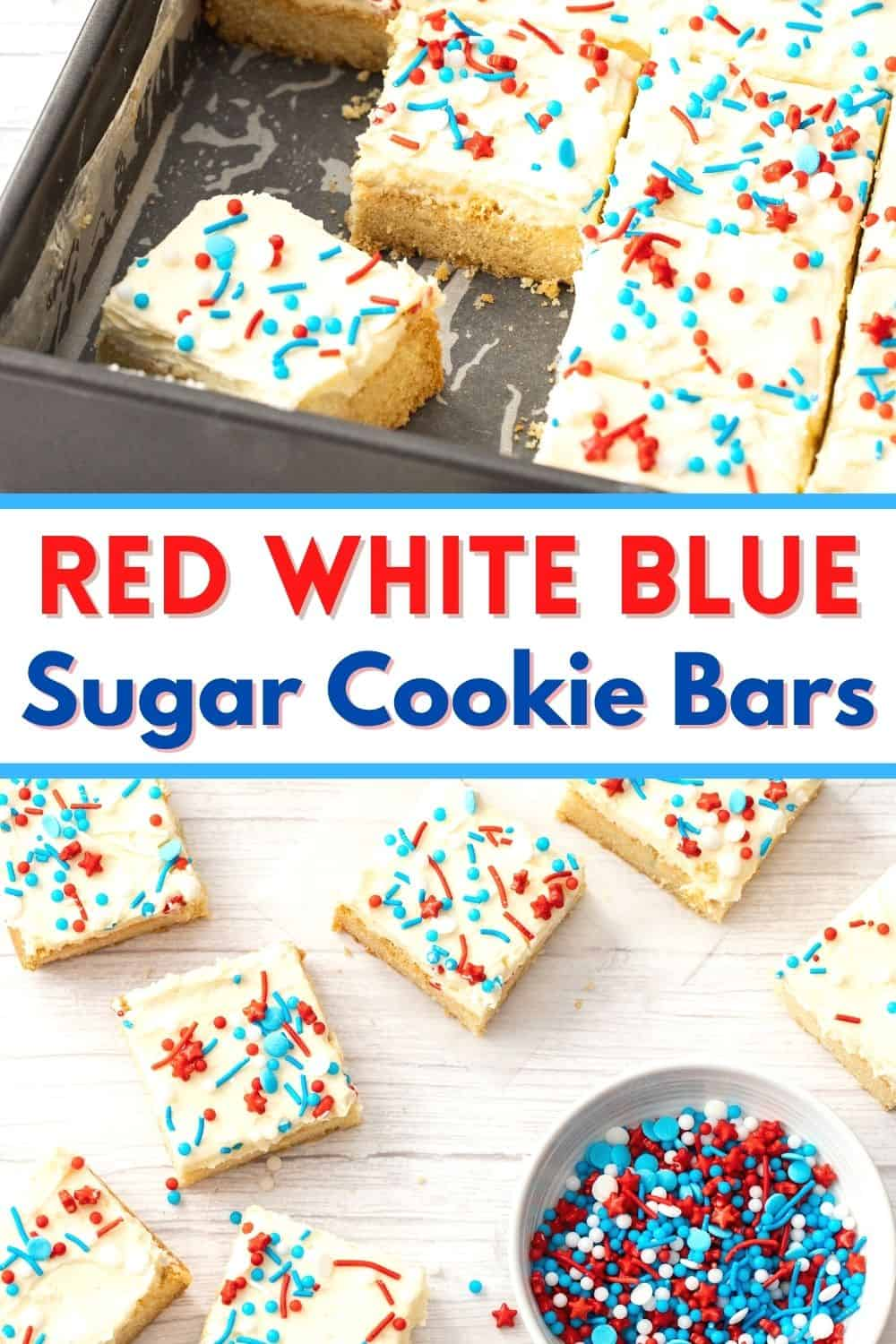 These all American cookies are easy, delicious and the best treat for celebrating the red, white and blue! Everyone loves these frosted sugar cookie bars for 4th of July, Memorial Day and Labor Day.