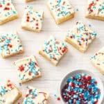 square frosted american cookies with red white blue sprinkles