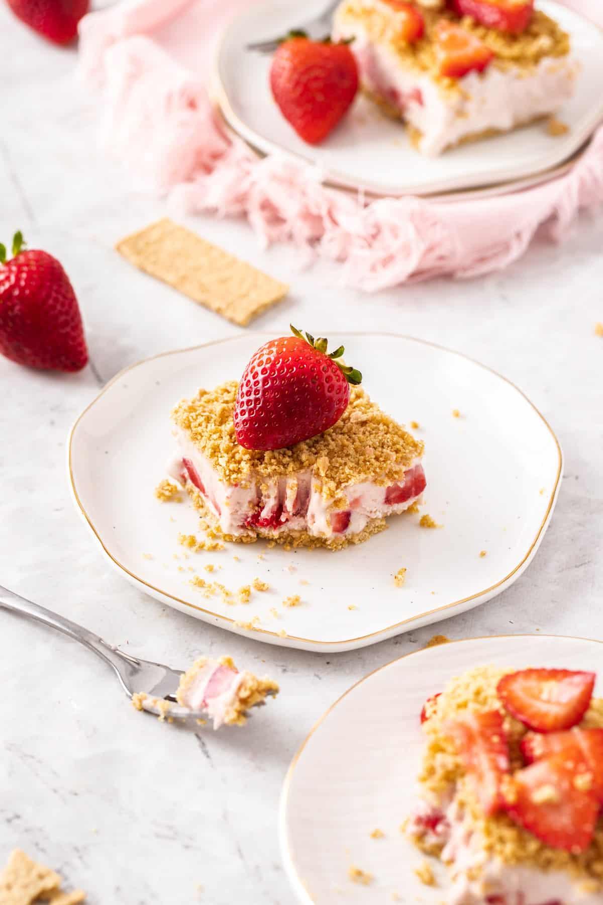 overhead of strawberry dessert on plate