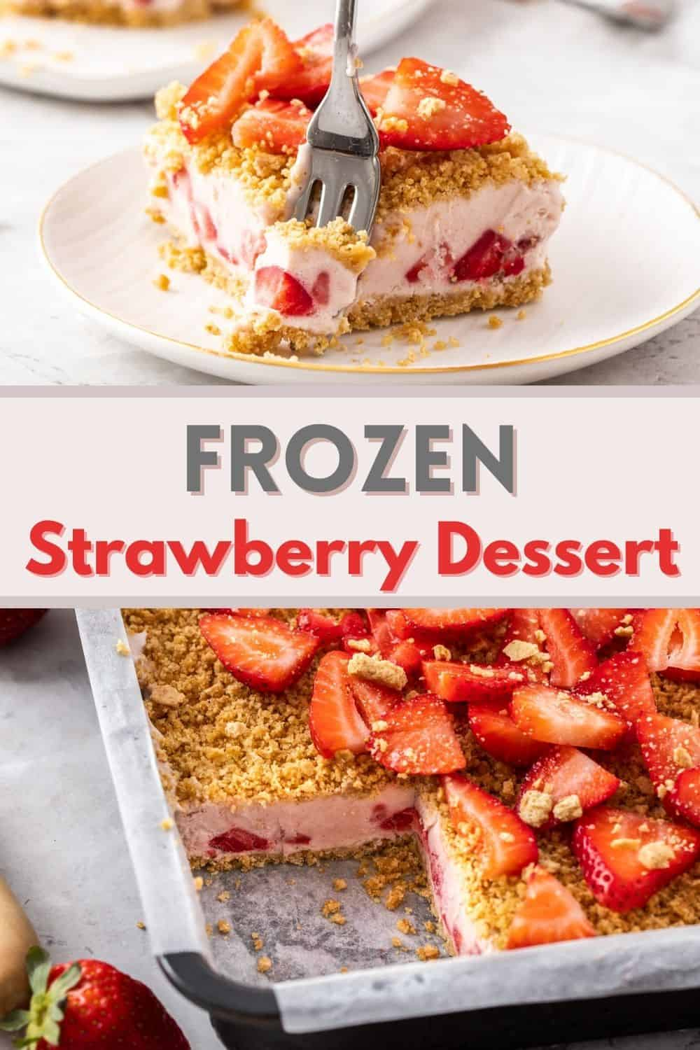 An easy strawberry dessert with top and bottom layers of graham cracker crumbs. If you love strawberries and cream, you will love this frozen dessert!