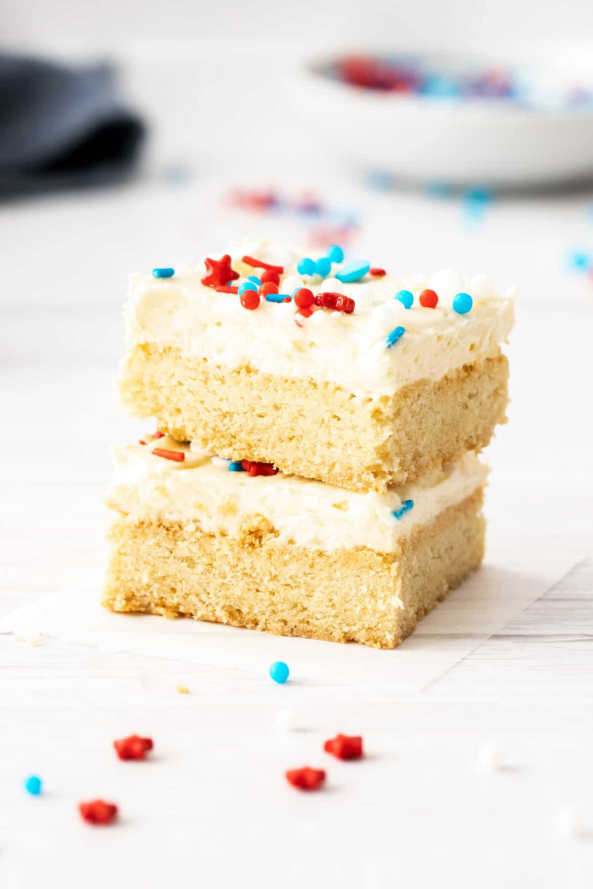 american cookies frosted sugar cookie bars stacked