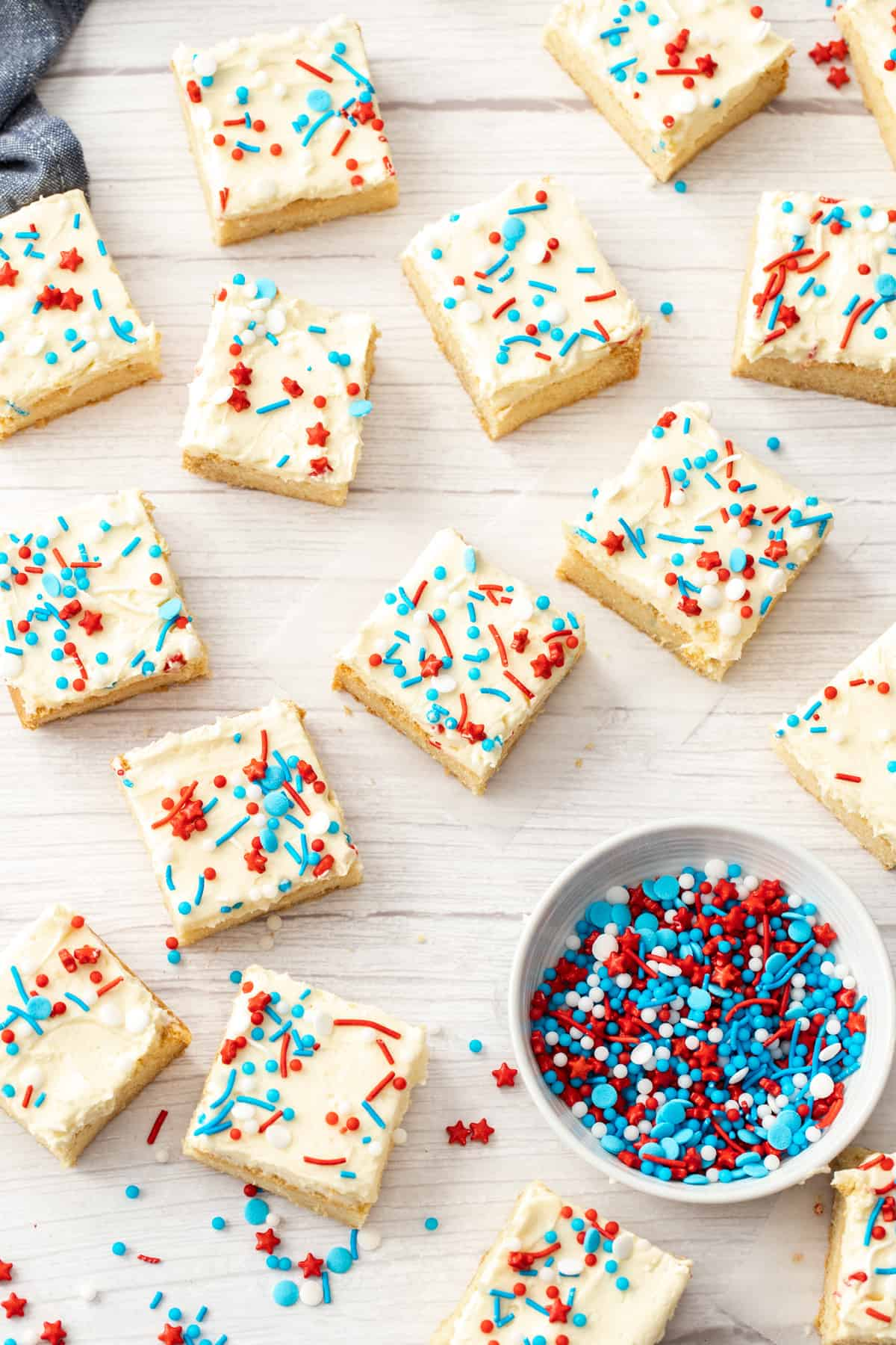 american cookie bars with red white blue sprinkles