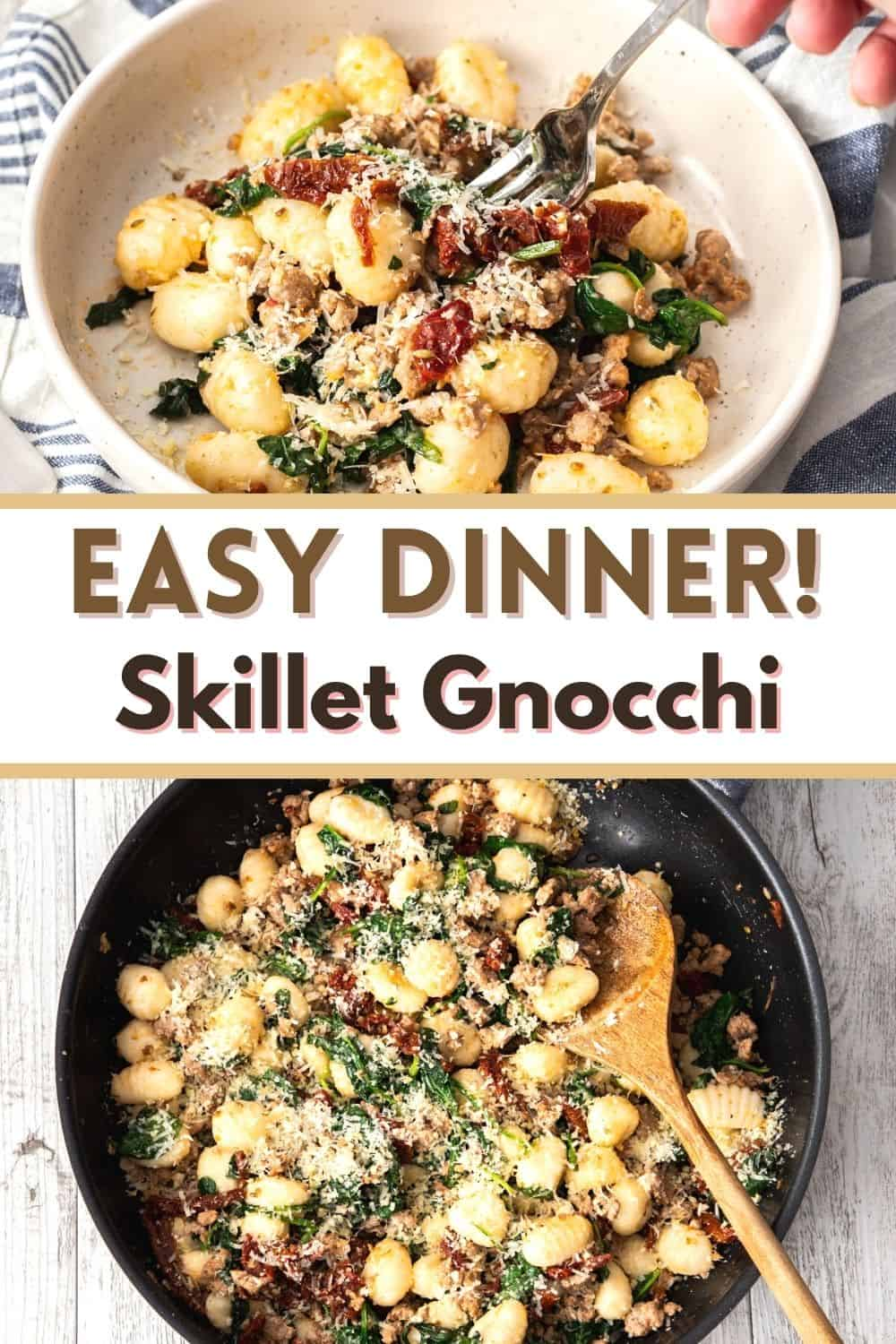 This easy gnocchi recipe is made in one skillet with spinach, sausage and sun-dried tomatoes. A delicious weeknight meal bursting with Italian flavors the whole family will enjoy!