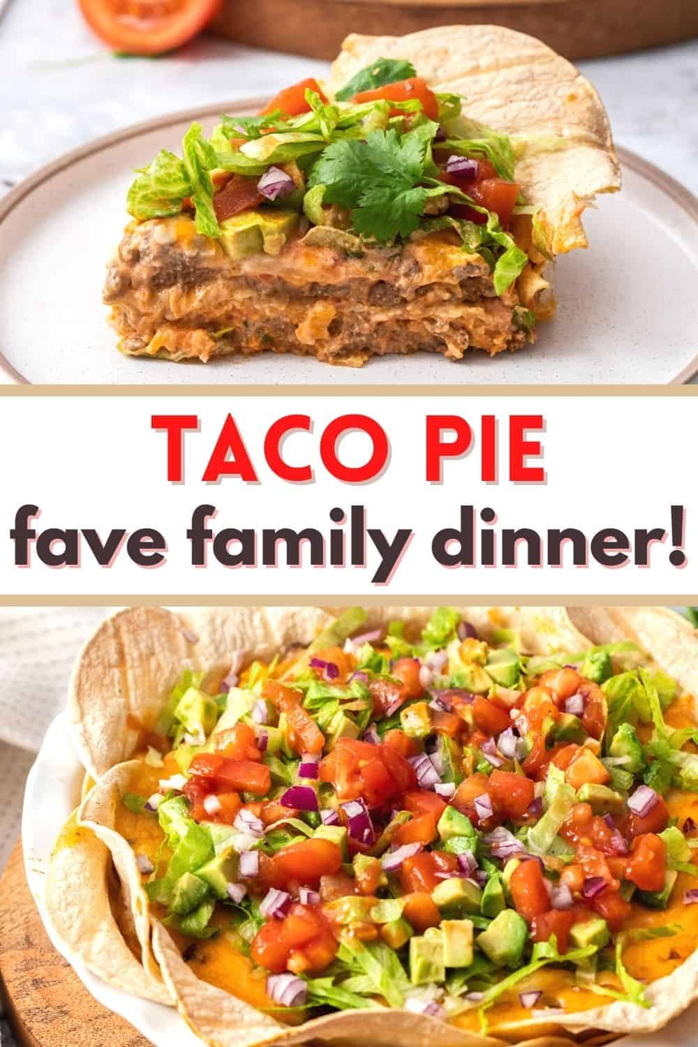 Taco pie includes your favorite taco fillings with a corn tortilla crust. An easy Mexican-style dinner the whole family loves!