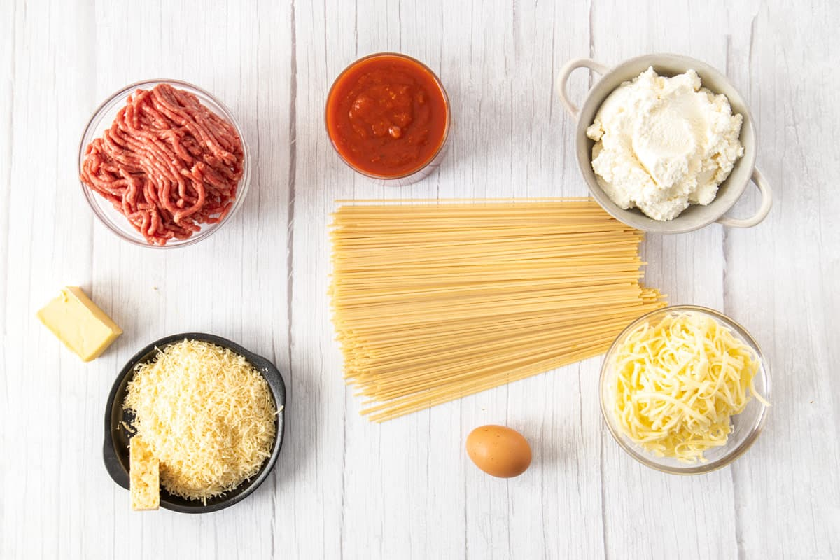 ingredients for baked spaghetti