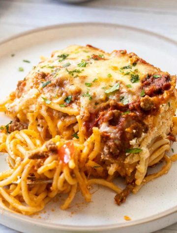 baked spaghetti on a plate