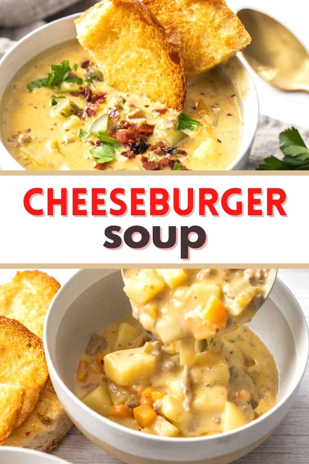 Cheeseburger soup is a creamy and cheesy bowl of comfort. Ground beef, cheese, potatoes and veggies make this hearty soup excellent!
